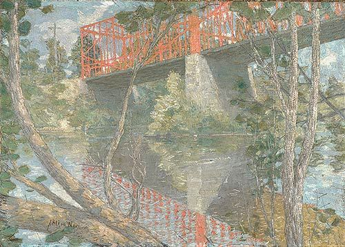 The Red Bridge, 1895 Julian Alden Weir (1852–1919). Oil on canvas.   This painting depicts an iron bridge over the Shetucket River near the Weir family's summer home in Windham, Connecticut. It is one of the few American Impressionist paintings to show an interest in industrialization.