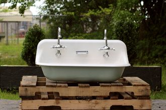 "36"" Antique Inspired Kohler Farm Sink Green Blue Cast Iron Porcelain Trough Sink"