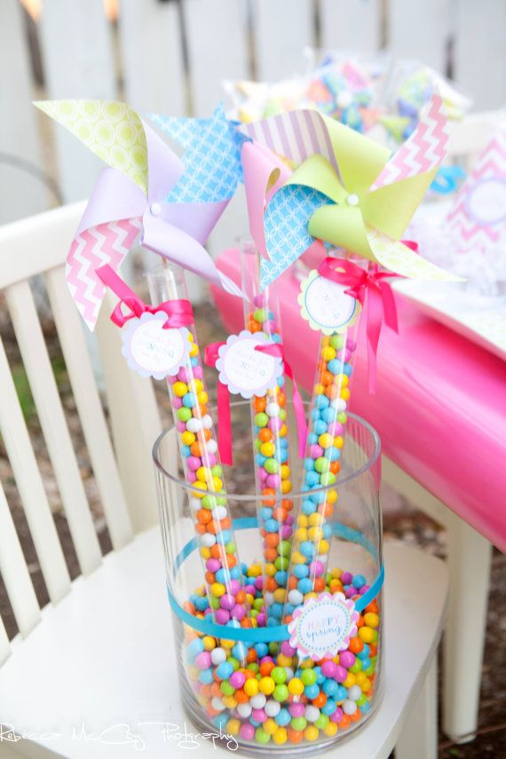 We love this party favor! Use scrapbook paper, plastic party favor tubes, and sixlets candy.