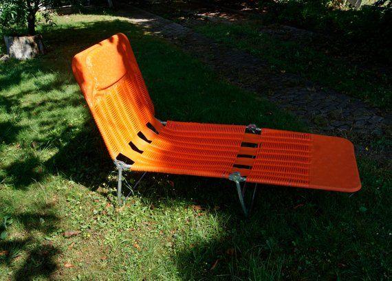 Garden Chair Orange Sun Lounger Sunbeds Lounge Chair Reclining