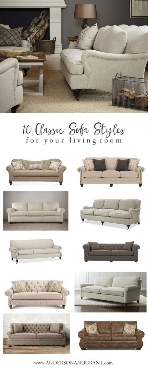 Overwhelmed when trying to find the perfect sofa for your living room? Check out this post with 10 Classic Sofas that will never go out of style.   www.andersonandgrant.com
