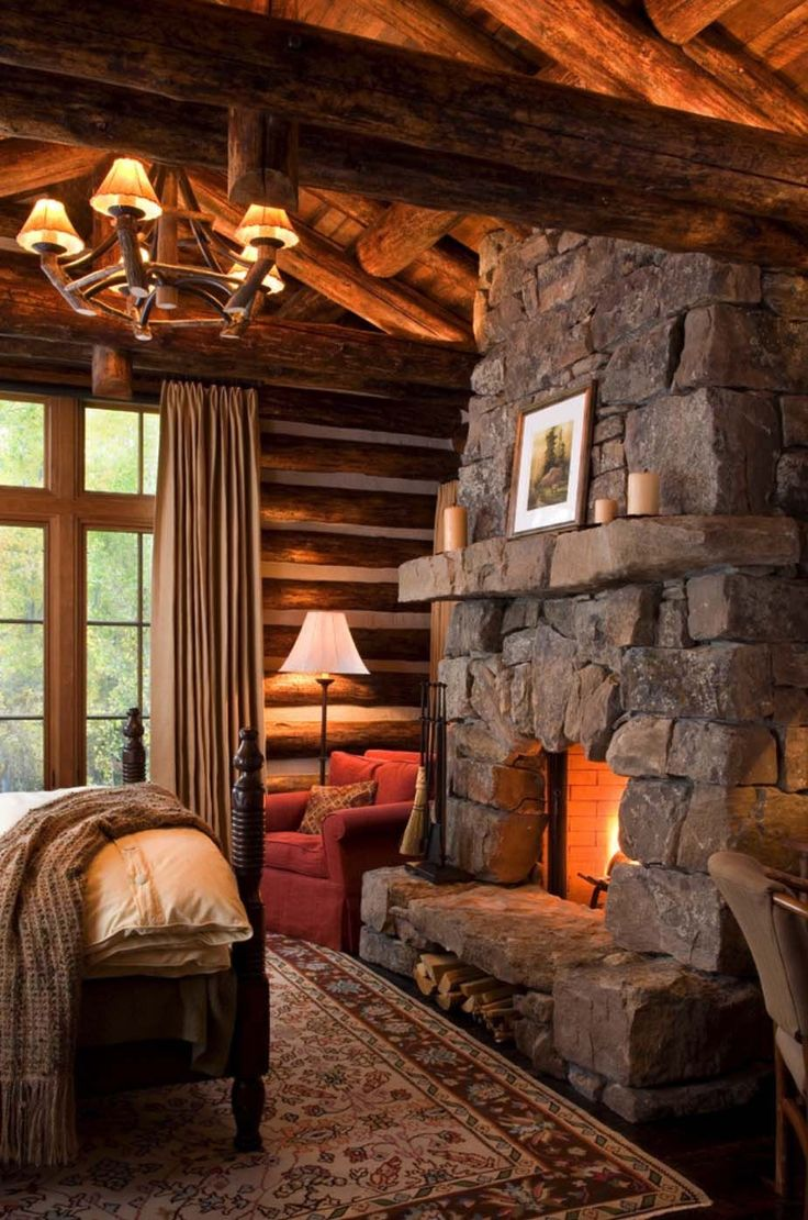 Cabin interior fireplace - 35 Gorgeous Log Cabin Style Bedrooms To Make You Drool
