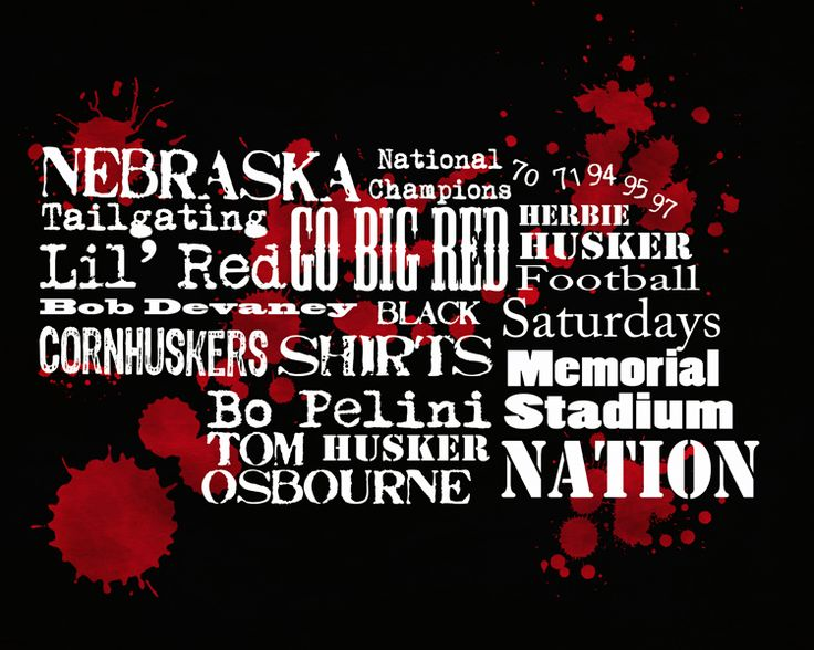 Nebraska Football Word Collage