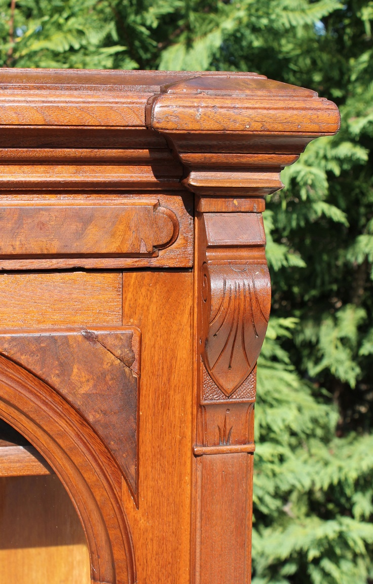 Small surface mounted replacement lock for antique furniture ebay - Burl Walnut Victorian Bookcase W Carved Pulls Circa 1875 Pillar Detail Ebay Victorian Bookcasesvictorian Furniturevintage