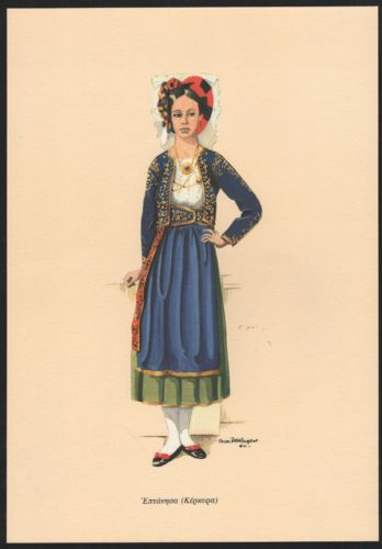 Traditional Greek Costume Vintage Engraving Kerkyra | eBay