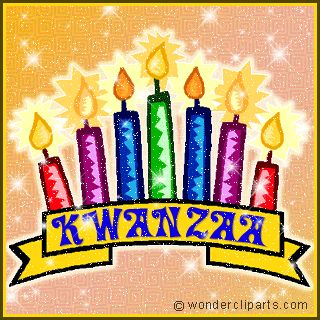 Sparkling animated banner for Kwanzaa with seven candles for Seven Principals of strong family and community