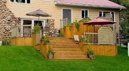 Terrasse en bois paliers multiples patio pinterest for Plan de patio exterieur en bois