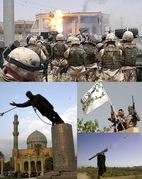 ODD ORBIT: News Oddities around the World; Iraq War:  20 March 2003 – 15 December 2011  (8 years, 8 months, 3 weeks and 4 days)  Clockwise from top: Delta Force of Task Force 20 alongside troops of 3rd Battalion, 327th Infantry Regiment,   at Uday Hussain and Qusay Hussein's hideout.; Iraqi insurgents with a flag; an Iraqi insurgent   firing a MANPADS; the toppling of the Saddam Hussein statue in Firdos Square.