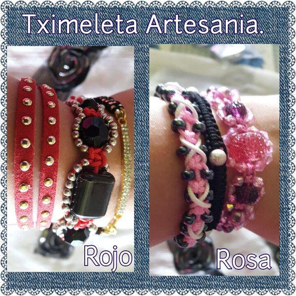 Lote de tres pulseras. Rojo o rosa. de Tximeleta Artesanía por DaWanda.com