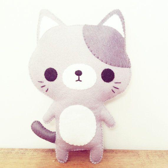 cat stuffed toy cat plush  kawaii cat by littlehappystitches, $18.00