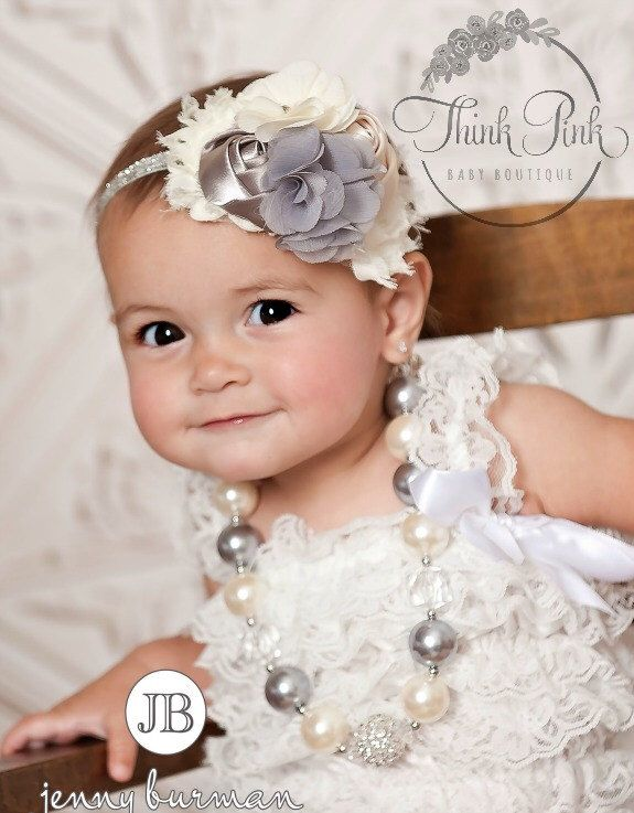 Bubblegum Necklace and Baby Headband SET,Baby Headbands, Little girls Chunky Necklace, Ivory and Grey Baby Headband and Chunky necklace set. by ThinkPinkBows on Etsy https://www.etsy.com/listing/194648024/bubblegum-necklace-and-baby-headband