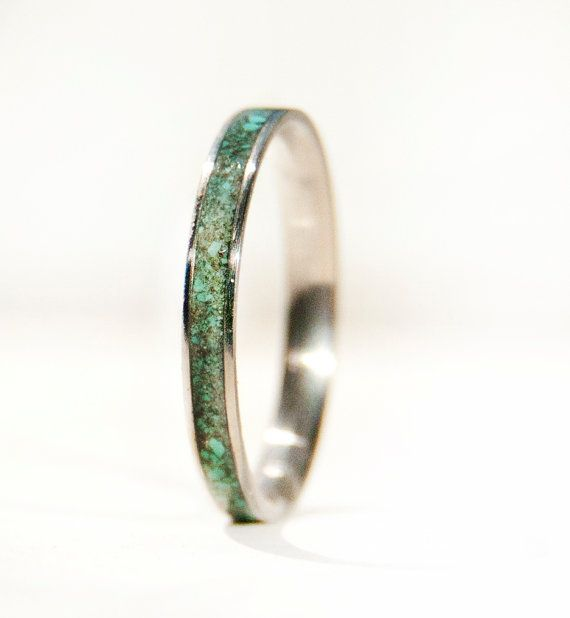 Womens Wedding Band Turquoise Stacking Ring by StagHeadDesigns