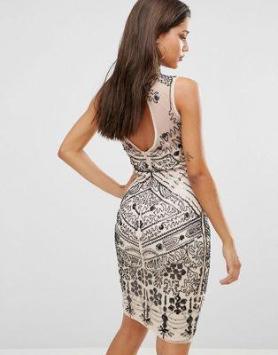 Boohoo Open Back Sequin Dress