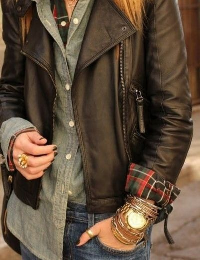 plaid, denim and leather