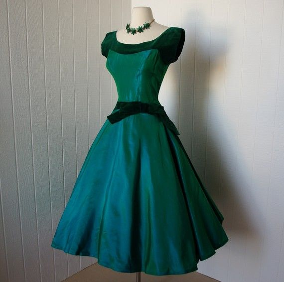 vintage 1950s dress  ...blazing emerald green taffeta and velvet full skirt party dress finished with a bow  ...old hollywood glam