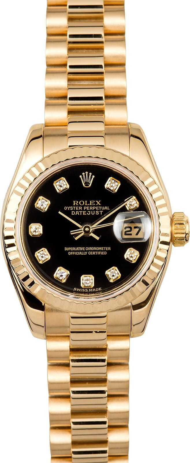 Manufacturer: Rolex   Model Name/Number: President 179178   Serial/Year: Y - 2002/2003   Grade: (What's This?) II   Gender: Ladies   Features: Automatic 2235 movement w/ date, Quickset, scratch-resistant sapphire crystal, waterproof screw-down crown   Case: 18k yellow gold w/ fluted bezel (26mm)   Dial: Black Diamond   Bracelet: 18k Yellow Gold Presidential w/ hidden crown clasp   Box & Papers: Original Rolex box and papers   Comments: This Ladies Rolex Datejust comes w/ Bob's