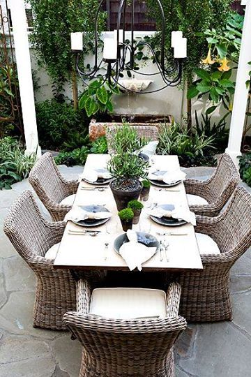 Pinned from Blue Egg Brown Nest's FB page- SUCH A GLORIOUS OUTDOOR DINING SETTING!! - A FABULOUS PLACE TO ENTERTAIN!!
