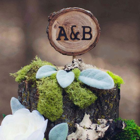 Rustic Wedding Cake Topper with Initials by alifesosimple on Etsy