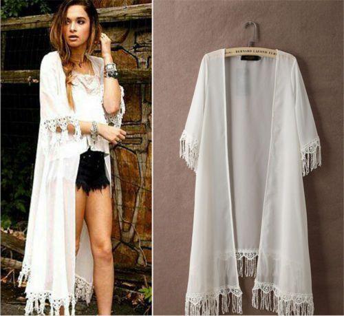 Boho Chic Long White Kimono With Tassel Trim