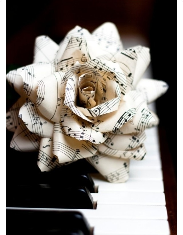 I really want to make some of these flowers with sheets of music for my wedding. Great decorations and an accurate reflection of who I am.