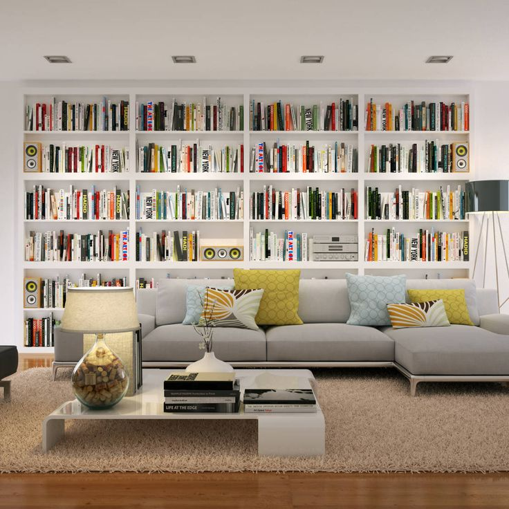 Biblioteca na sala de estar? Porque não?  https://www.homify.pt/livros_de_ideias/80425/estantes-para-sala-10-modelos-distintos