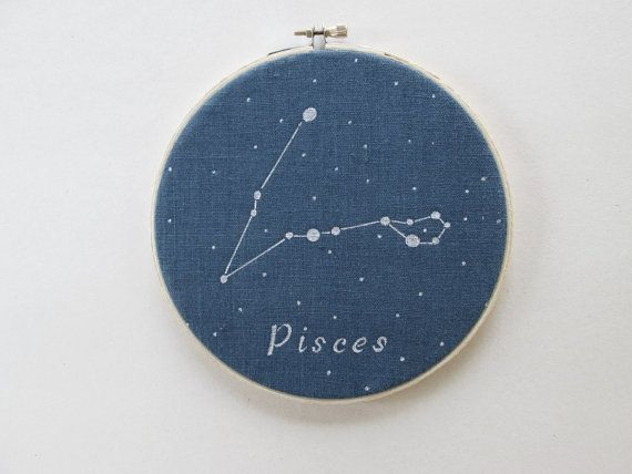 Hoop Art  Zodiac constellations Pisces Hand by ThePaperNeedle  Hoop art, zodiac constellation, home décor, mother`s day, free shipping, thepaperneedle, astrology