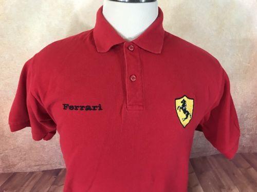 Ferraridesign Official Ferrari Polo Shirt Mens Xl Red Licensed S S Embroidered Logo