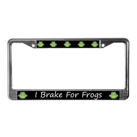 black i brake for frogs license plate frame