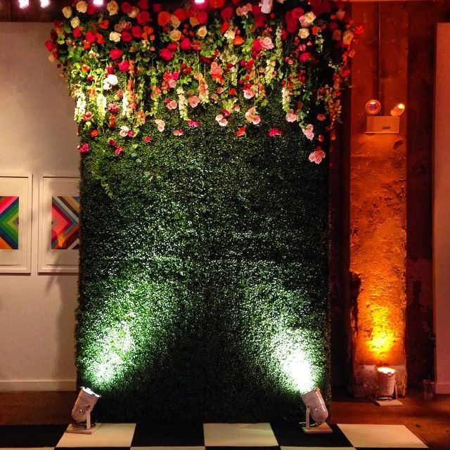 Step And Repeat For A Corporate Event Boxwood Flower Wall Glamor With Delphinium