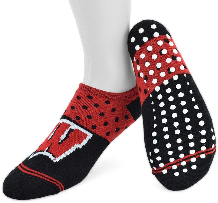 Mojo Women's Mojo Wisconsin Badgers Speckled No-Show Grip Socks