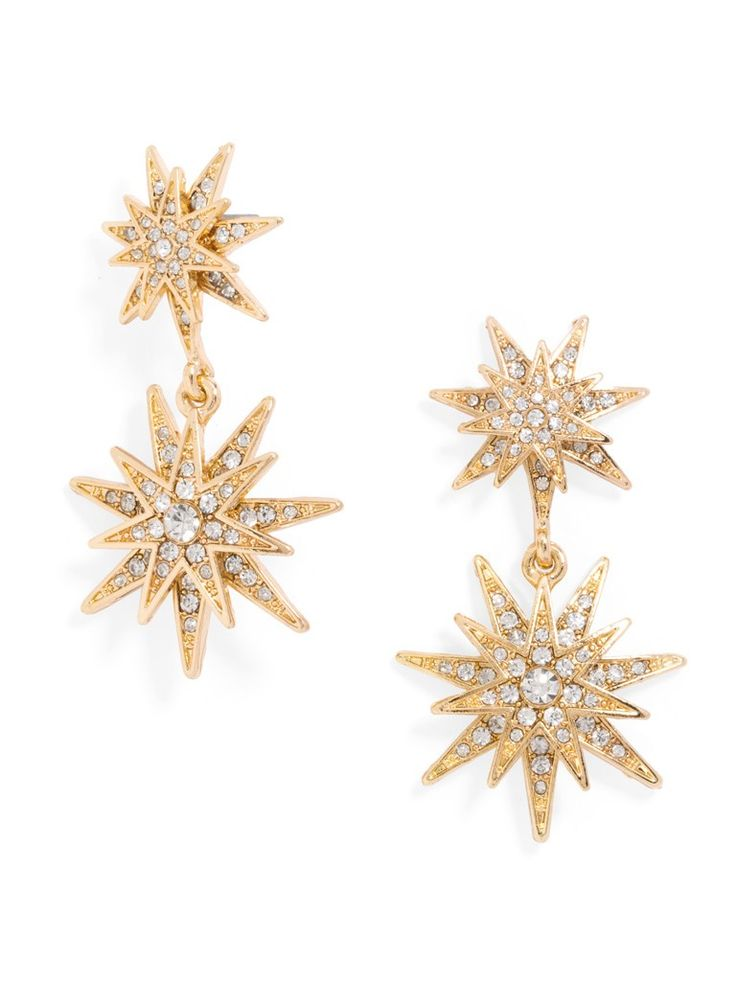A sprinkling of pavé crystal lends a luxe touch to stellar vintage-inspired drop earrings.