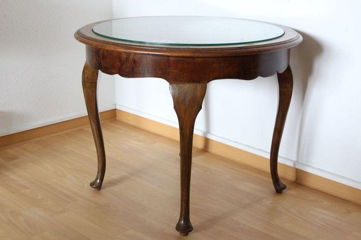 Schöner runder Chippendale Tisch Antik Glasplatte Ablage Couchtisch
