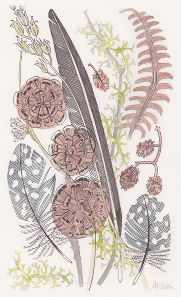 I like the detail in the feathers it compliments the braken and the other plants in the print. The dusty colours mhach. It is a collection of her interpretation of wooland natural. This is a still life.