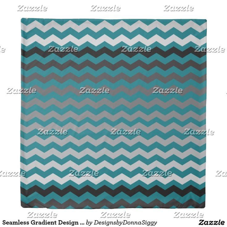 Seamless Gradient Design Chevron Pattern on Teal Duvet Cover