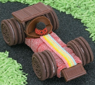 Formula One race car, made out of Oreos, Hershey bars, sour candy strips, candy berries, Snickers, and more.  :-)