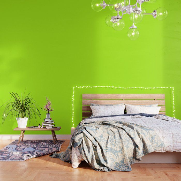Solid Bright Green Yellow Neon Color Peel And Stick Wallpaper By Podartist 2 X 8 Green Wallpaper Lime Green Wallpaper Colorful Wallpaper