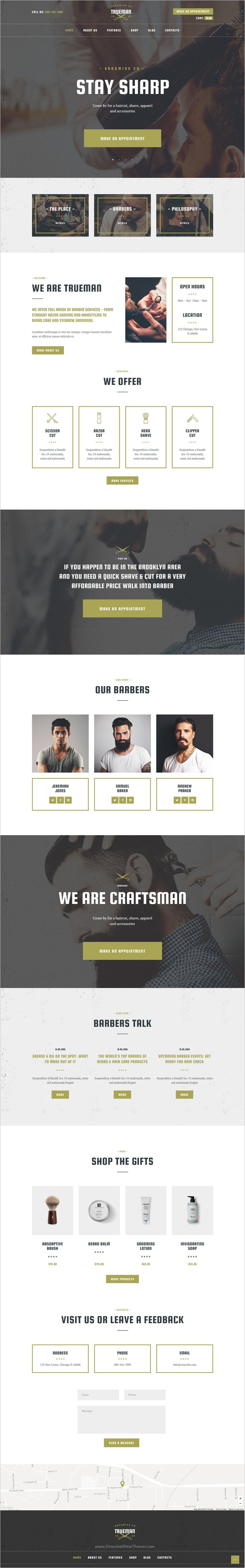 Trueman is a modern and functional design #WordPress theme for responsive #hairdressers, #barber shop or hair salon website download now➯ https://themeforest.net/item/trueman-barber-shop-hair-salon-wordpress-theme/16557573?ref=Datasata
