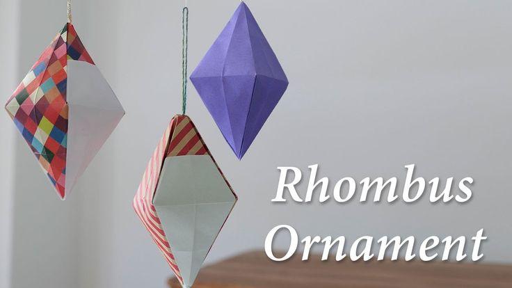 折り紙オーナメント、ひし形立体の作り方。/サンタクロース/Rhombus Ornament【origami tutorial】