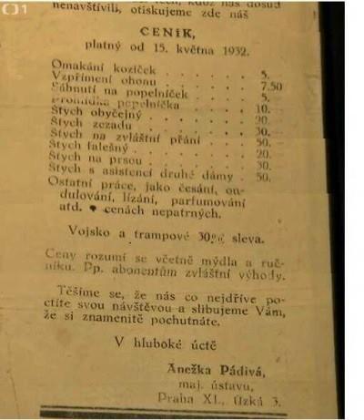 Ceník českého nevěstince z roku 1932!