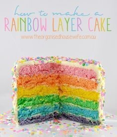 Makes me think of the rainbow sherbert angel food cake that my mamma used to make for birthday. How to make a Rainbow Layer Cake