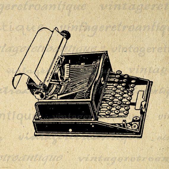 Printable Graphic Old Fashioned Typewriter Digital Illustrated Download Image Vintage Clip Art Jpg Png Eps 18x18 HQ 300dpi No.1554 @ vintageretroantique.etsy.com