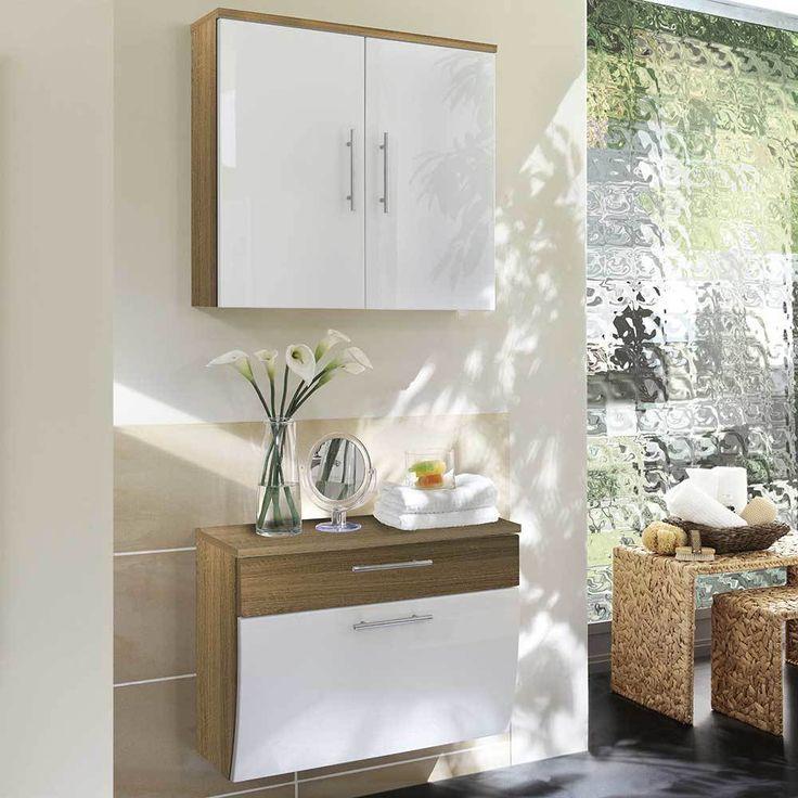 Badezimmer Kombi in Weiß Hochglanz Eiche Sonoma hängend (2-teilig - badmöbel kleines badezimmer