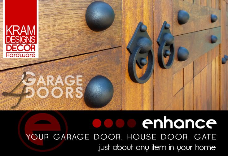 Enhance your garage door, house door, gate or just about any item in your home with Kram Designs Decor Hardware.