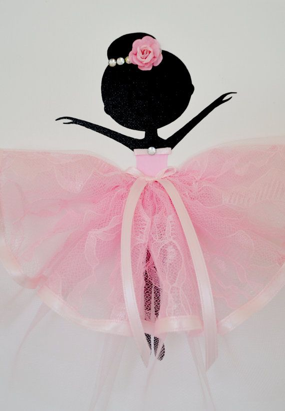 Pink and white nursery wall art.  Set of three handmade canvases with Dancing Ballerinas in pink tutus. Each canvas is 8 X 10. The background and