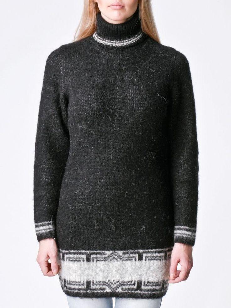 Elegant Black Wool Sweater Dress For Women Turtleneck 100 % Icelandic Wool #Unbranded #LONGWOOLSWEATERDRESS