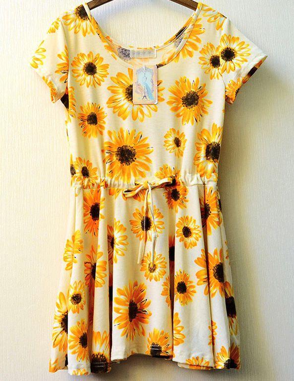 Yellow Sunflower Print Drawstring Dress - Fashion Clothing, Latest Street Fashion At Abaday.com