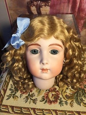 ~ Wonderful!!! Antique Style Vintage Curly Golden Blonde Mohair Doll Wig ~