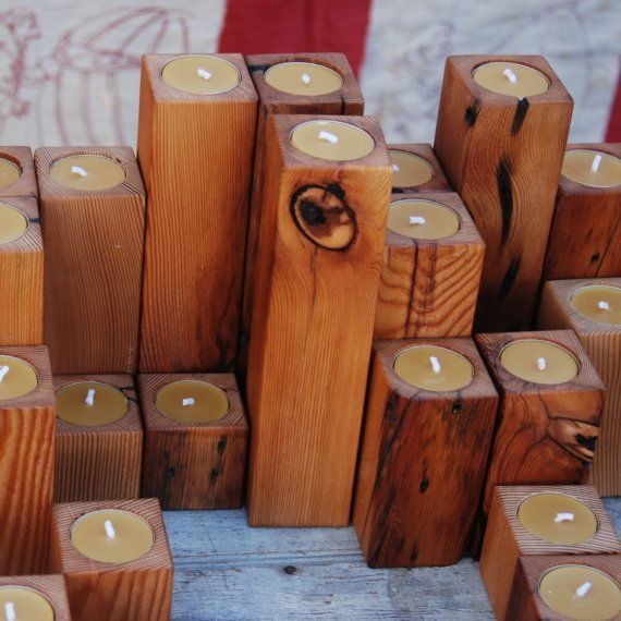 candle holders made from old reclaimed pine floor joists_