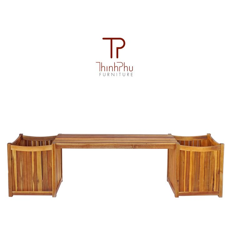 wood BENCH with planter