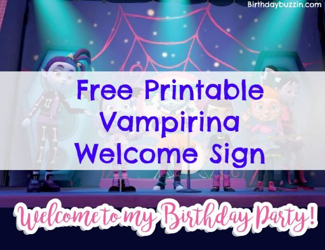photo about Free Printable Welcome Sign Template titled Free of charge Printable Vampirina Welcome Indicator Birthday Get together Designs